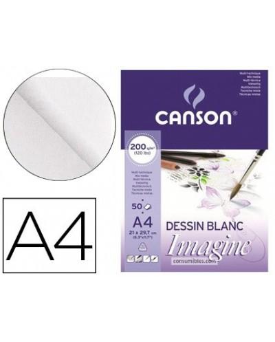 Bloc dibujo multitecnicas canson imagine din a4 encolado liso 21x297 cm 50 hojas 200 gr