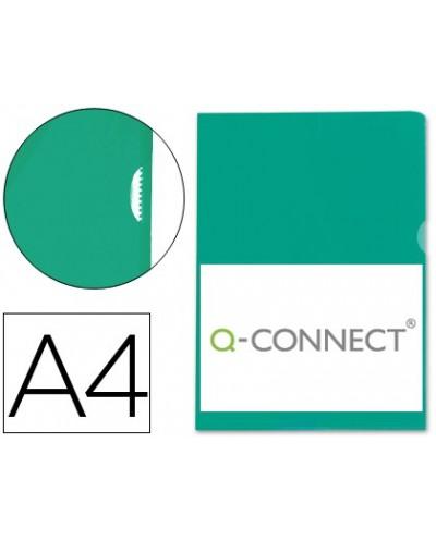 Carpeta dossier unero plastico q connect din a4 120 micras verde caja de 100 unidades