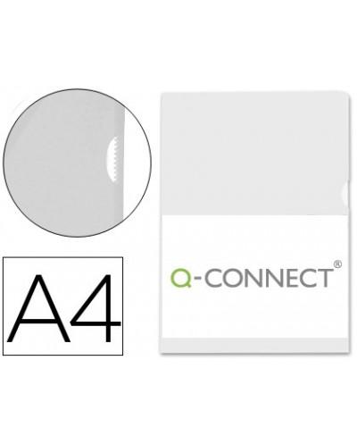 Carpeta dossier unero plastico q connect din a4 120 micras transparente caja de 100 unidades