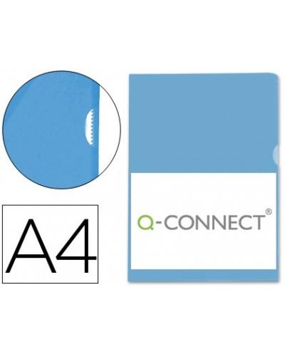 Carpeta dossier unero plastico q connect din a4 120 micras azul caja de 100 unidades