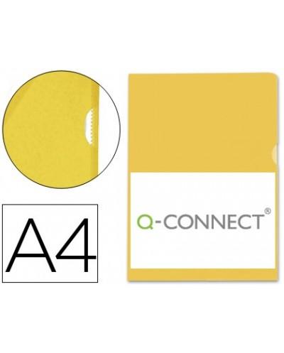 Carpeta dossier unero plastico q connect din a4 120 micras amarilla caja de 100 unidades