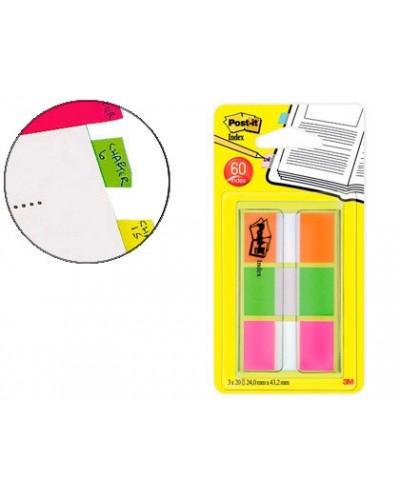 Banderitas separadoras post it index 680 naranja lima y rosa dispensador funda 3x20