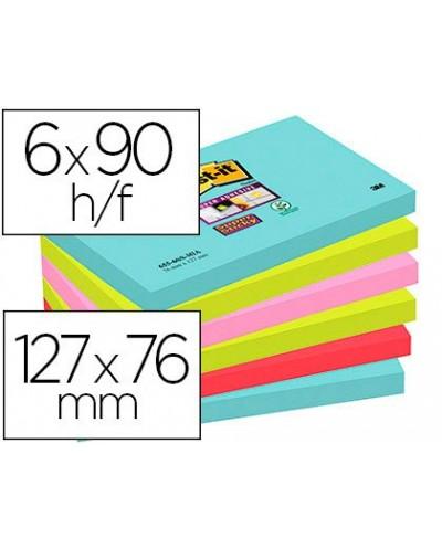 Bloc de notas adhesivas quita y pon post it super sticky 76x127 mm con 90 hojas pack de 6 unidades colores miami