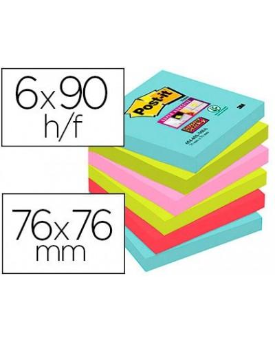Bloc de notas adhesivas quita y pon post it super sticky 76x76 mm con 90 hojas pack de 6 unidades colores miami
