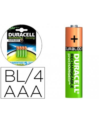 Pila duracell recargable staycharged aaa 800 mah blister de 4 unidades