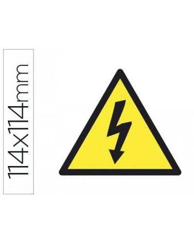 Etiqueta adhesiva apli de senalizacion simbolo alta tension 114x114 mm