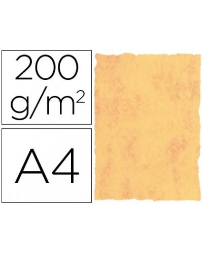 Papel pergamino din a4 200 gr color marmol amarillo paquete de 25 hojas