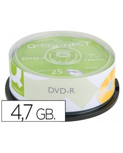Dvd r q connect capacidad 47gb duracion 120min velocidad 16x bote de 25 unidades
