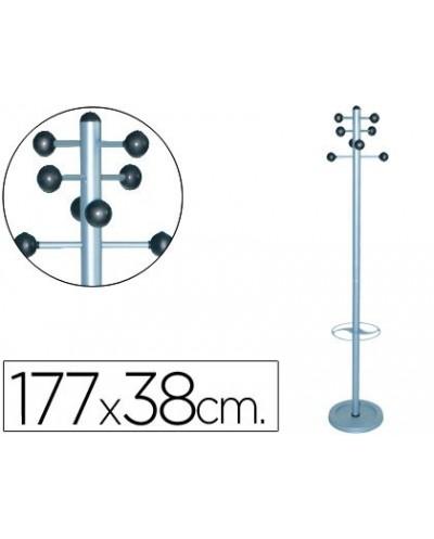 Perchero metalico 626 con paraguero pie 8 colgadores 177x38 cm