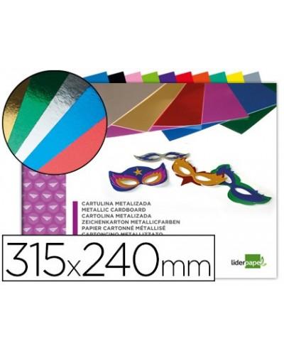 Bloc trabajos manuales liderpapel cartulina metalizada 240x315mm 10 hojas colores surtidos
