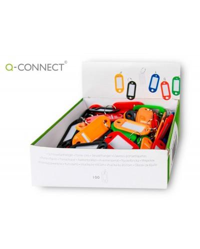 Llavero portaetiquetas q connect expositor de 100 unidades colores surtidos