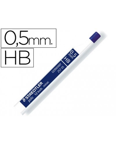 Minas staedtler grafito 05 mm hb polo 257 tubo con 12 minas