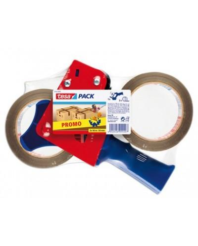 Portarrollo tesa para embalaje para rollos de 66mtx 50mm 2 rollos cinta marron