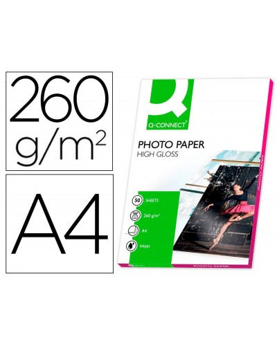 Papel q connect foto glossy din a4 alta calidad digital photo para ink jet bolsa de 50 hojas de 260 gr