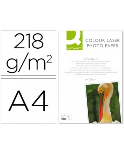 Papel q connect foto glossy din a4 para fotocopiadoras e impresoras laser paquete de 100 hojas 220 gr