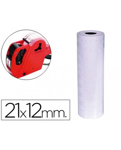 Etiquetas q connect blanca 21 x 12 mm lisa rollo 1000 etiquetas para etiquetadora q connect