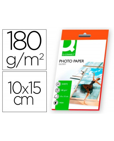 Papel q connect foto glossy kf01905 10x15 digital photo para ink jet bolsa de 25 hojas de 180 gr