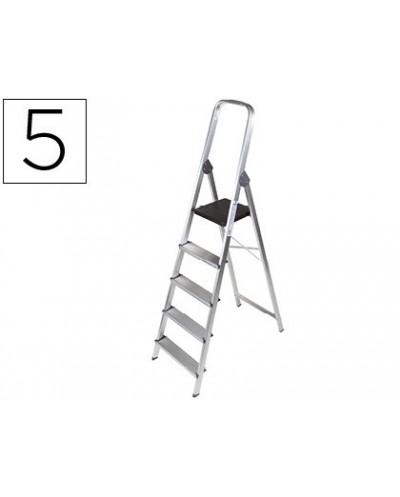 Escalera q connect de aluminio 5 peldanos 1062x483x1675 mm peso maximo 150 kg en 131