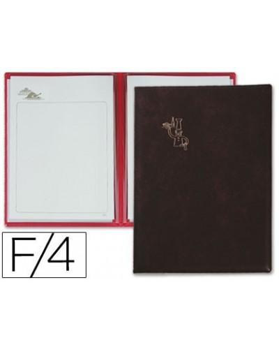 Porta menus pardo 4 fundas con laminas litografiadas negro