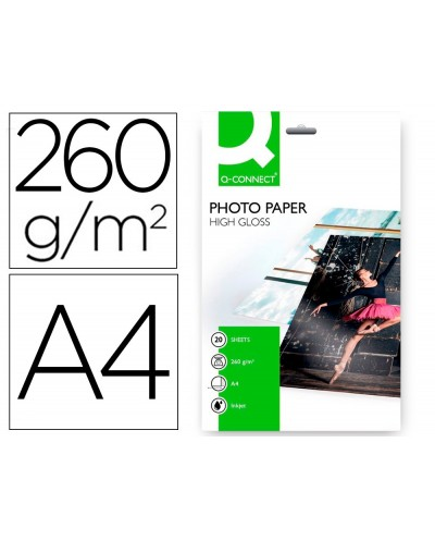Papel q connect foto glossy kf02163 din a4 alta calidad digital photo para ink jet bolsa de 20 hojas de 260 gr