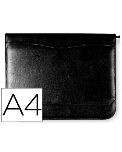 Carpeta portafolios 80 848 negra 260x355 mm cremallera 4 anillas 40 mm calculadora con bolsa para movil