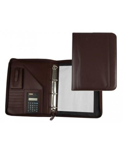 Carpeta portafolios 45 848 marron 260x355 mm cremallera 4 anillas 40 mm calculadora con bolsa para movil