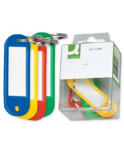 Llavero portaetiquetas q connect caja de 6 unidades colores surtidos