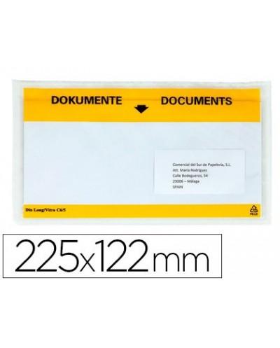 Sobre autoadhesivo q connect portadocumentos multilingue 225x122 mm ventana totalmente transparente paquete de 100