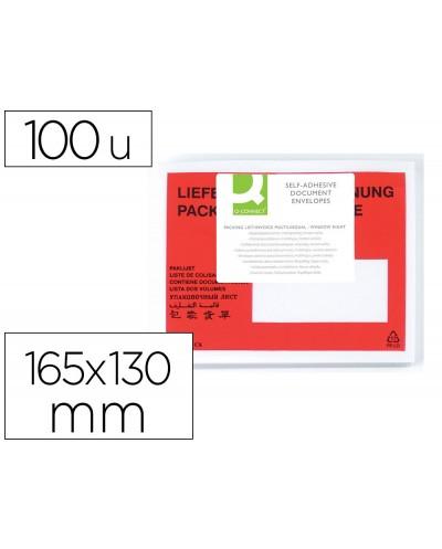 Sobre autoadhesivo q connect portadocumentos multilingue 165x130 mm ventana izquierda paquete de 100 unidades