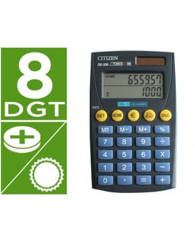 Calculadora citizen bolsillo de 200 euro 8 digitos doble pantalla negra en blister
