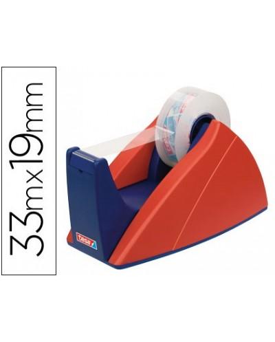 Portarrollo sobremesa tesa rojo azul con cuchilla de corte recto para cintas de hasta 33 m x 19 mm
