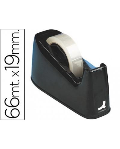 Portarrollo sobremesa q connect plastico para cintasde 33 y 66 mt negro