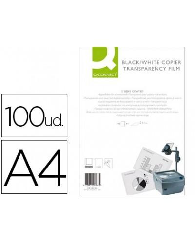 Transparencia q connect din a4 kf26066 para fotocopiadora tratada dos caras caja de 100