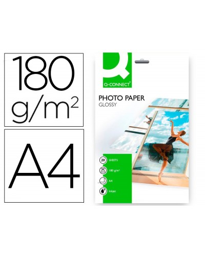 Papel q connect foto glossy kf01103 din a4 digital photo para ink jet bolsa de 20 hojas de 180 gr