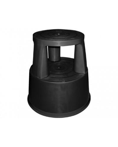 Taburete q connect ruedas retractiles tres ruedas dos niveles negro