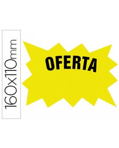 Cartel cartulina etiquetas marcaprecios amarillo fluorescente 160x110 mm bolsa de 50 etiquetas