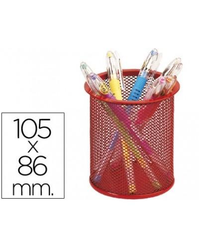 Cubilete portalapices q connect metal rejilla rojo medida diametro 86 altura 105