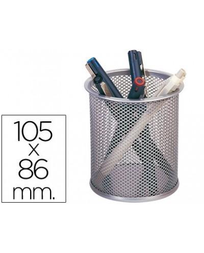 Cubilete portalapices q connect rejilla metal plata medida diametro 86 altura 105