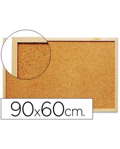 Pizarra corcho q connect 90x60 cm marco de madera