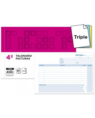 Talonario liderpapel facturas cuarto original y 2 copias t318 apaisado con iva