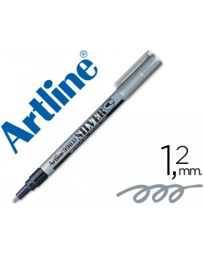Rotulador artline marcador permanente tinta metalica ek 990 plata punta redonda 12 mm