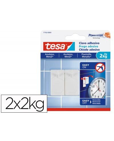 Clavo autoadhesivo tesa sujecion hasta 2 kg uso azulejos removible blister de 2 unidades