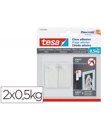 Clavo autoadhesivo tesa sujecion hasta 05 kg uso paredes pintadas removible blister de 2 unidades