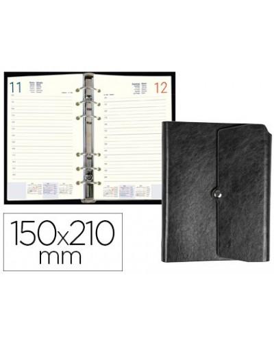 Agenda anillas liderpapel tinde 15x21 cm dia pagina negro simil piel envejecida papel 70 gr