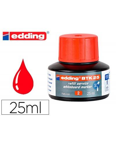 Tinta rotulador edding pizarra blanca btk 25 color rojo frasco de 25 ml