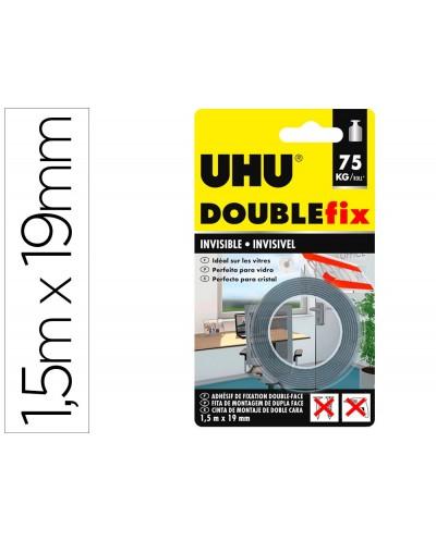 Cinta adhesiva uhu doublefix invisible doble cara extra fuerte 15 m x 19 mm