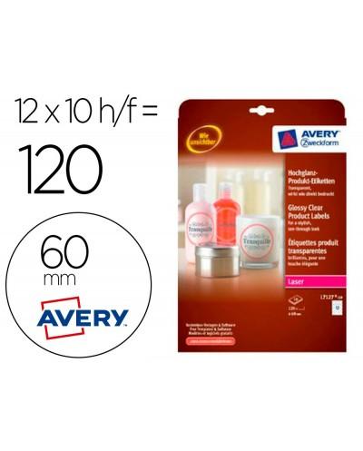 Etiqueta adhesiva avery brillante invisible redonda removible para impresora laser 60 mm caja de 120