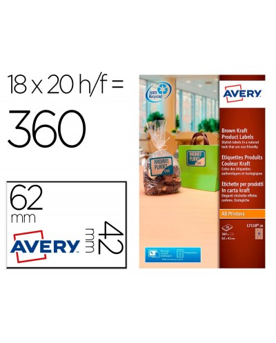 Etiqueta adhesiva avery kraft efecto carton rectangular removible para impresora laser inyeccion tinta