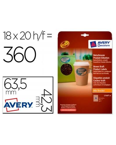 Etiqueta adhesiva avery kraft efecto carton ovalada removible para impresora laser inyeccion tinta