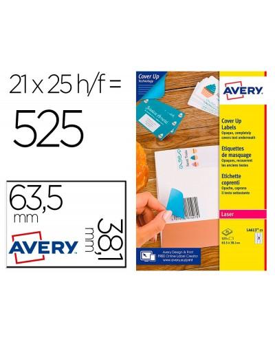 Etiqueta adhesiva avery permanente para impresora laser blanca 635x381 mm caja de 525 unidades